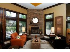 Love that they placed the fireplace in the corner. 719 East Monroe Avenue, St Louis, MO 63122.