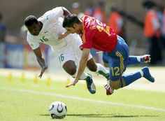 Spain 1 Saudi Arabia 0 in 2006 in Kaiserslautern. Khaled Aziz and Antonio Lopez in flying action in Group H at the World Cup Finals. 2006 World Cup Final, Kaiserslautern, Football Pictures, Soccer Ball, Saudi Arabia, Finals, Sports, Spain, Action