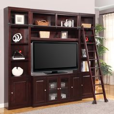 Have to have it. Parker House Boston Space Saver Library Wall Entertainment Center Bookcase - Merlot - $2302.02 @hayneedle