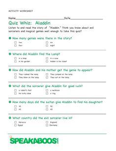 Quiz Whiz: Aladdin | Speakaboos #Worksheets #quiz #education #kids #aladdin