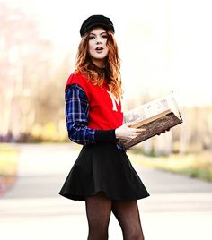 @Who What Wear - Ebba Zingmark   For a youthful iteration of this hat, pair it with your favorite mini skirt and brightly-colored sweater, like Zingmark. She chose an initialed sweater with plaid contrast sleeves, and wore sheer, black tights, resulting in a look that's delightfully reminiscent of a schoolgirl.