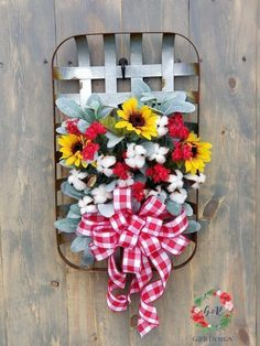 Sunflower and Cotton Tobacco Basket Spring Sunflower Door Hanger Farmhouse Wall Decor Rustic Wall Basket Spring Wreath Fall Wreath Tobacco Basket Decor, Sunflower Door Hanger, Tree Topper Bow, Boxwood Wreath, Home Decor Hacks, Baskets On Wall, Wall Basket, Woven Baskets, Hanging Baskets