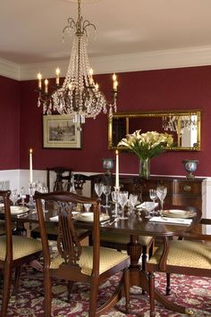 Red dining room decor traditional dining room decorating ideas bedroom mirror red rooms red and black dining room decor Dining Room Storage, Dining Room Wall Decor, Dining Room Design, Dining Room Furniture, Room Decor, Furniture Ideas, Furniture Design, Dining Room Colors, Elegant Dining Room