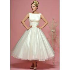 Vintage Boat Neck Sleevless Tea Length Wedding Dress - Star Bridal Apparel, #vintage, #boat-neck, #sleeveless, #tea-length, #wedding, #dress