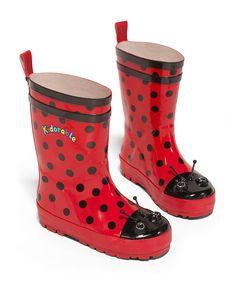 Red Ladybug Rain Boot