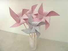 8 Pics moulins à vent à pois et chevron rose et gris - décoration de table de fête, candy bar, anniversaire, : Accessoires de maison par papierelief