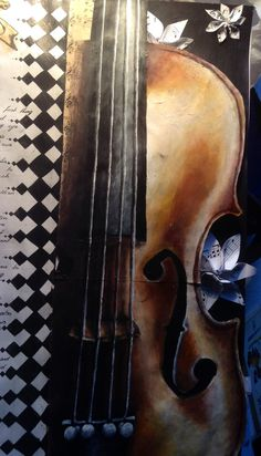 Acrylic painting of a Violin for AS Level art