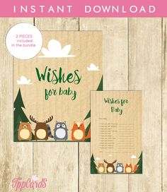 Woodland Wishes for Baby Shower Activities Baby Shower Well Wishes for Baby Cards and Sign Printable Instant Download Baby Animals 0035A by TppCardS #tppcards #printable #invitations