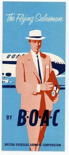 BOAC 1950 s BROCHURE.. THE FLYING SALESMAN ...VERY RARE IN PRISTINE CONDITION