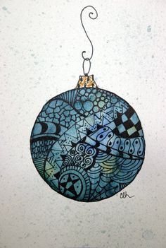 Zentangle art card watercolor card Christmas by ArtworksEclectic, Christmas Doodles, Christmas Drawing, Christmas Art, Christmas Ornament, Watercolor Christmas, Ornaments, Doodles Zentangles, Zentangle Patterns, Zen Doodle