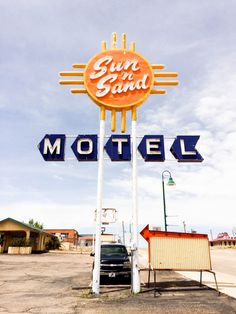 The Sun n Sand Motel vintage neon sign in Santa Rosa, NM along Route 66. // Salty Canary