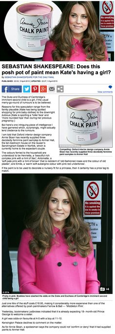 Annie Sloan chalk Paint being used by Kate Middleton? - Interesting piece about the Duke and Duchess Of Cambridge in the daily mail. Picking out colours for a little sister for Prince George perhaps… see the full article in Dovetails Blog