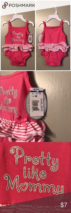 DONATING 5/1 - PINK ROMPER NWT Adorable spaghetti strap onesie, 3 months One Pieces Bodysuits