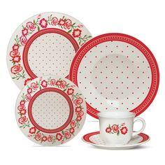 Aparelho de Jantar e Chá Rosas 20 peças - Biona - Havan