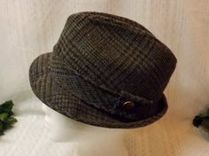 Vintage 70s Mens Fedora Gray Tweed Style Pinch Top Hat Size 7