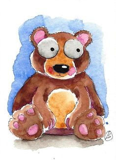 ACEO Original watercolor painting Lucia Stewart whimsical animal Baby bear…