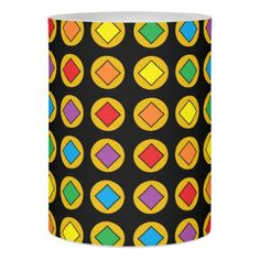 Gold Polka Dots and Rainbow Diamonds Flameless Candle