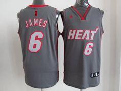 Adidas NBA Miami Heat 6 LeBron James Graystone II Fashion Swingman Jersey