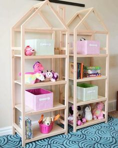 Need some shelves in your kid's room or a playroom?  We have free plans for these adorable house shelves #ontheblog #remodelaholic #linkinprofile by @hertoolbelt