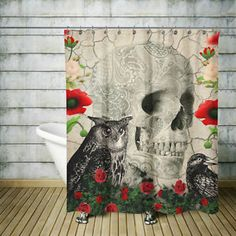 Skull-Shower-Curtain-Day-Of-The-Dead-Gothic-Crow-Owl-Rose-Skull-Story
