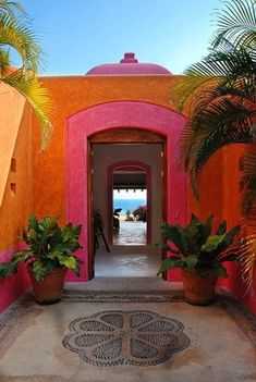 Colorful vivid house courtyard