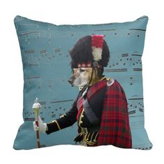 Funny Scottish  dog pipe major wearing red tartan plaid,  throw pillow cushions, photographed at  highland games in Scotland, home decor ideas