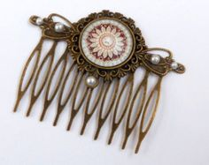Antique-style hair comb with pearls flower, antique hair comb, wedding hair accessories, bridal hair comb, brown bronze