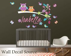 Branch Wall Decal - Nursery Branch Decal - Owls on Branch Decal on Etsy, $49.00