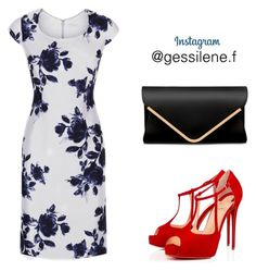 """""""vestido floral"""" by gessilene-ferreira on Polyvore featuring moda, Jacques Vert e Christian Louboutin"""