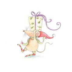Julia Oliver, Mouse and present… Christmas Drawing, Christmas Paintings, Christmas Art, Xmas, Illustration Noel, Christmas Illustration, Illustrations, Christmas Clipart, Christmas Greetings