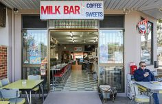 Milk Bar 2223 (pictured) is located in the historic Sydney suburb of Mortdale and it is decorated like an old-school cafe Restaurant Design, Restaurant Bar, Sydney Cafe, Visit Sydney, Front Design, Old Photos, Milkshakes, Pinball, 1970s