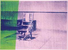 Andy Warhol Big Electric Chair 1967.    sérigraphie et acrylique sur toile. Dimensions: 137 cm × 185.4 cm.  A partir d'une photographie sérigraphiée,Andy Warhol imprime sur sa toile une image haissable de la société américaine. faire de la chaise électrique, objet de torture et de mort, un tableau-affiche aux couleurs complémentaires est une véritable gageure.C'est pourtant une dénonciation soft et pleine d'ambiguité qui laisse perplexe.