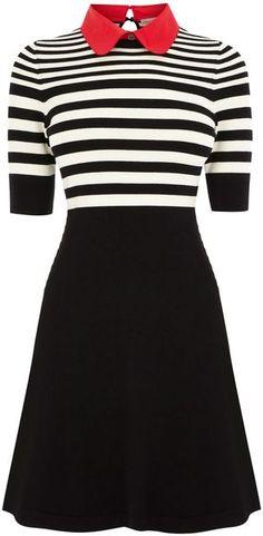 KAREN MILLEN ENGLAND Stripe Polo Knit Dress