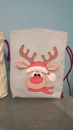 Säckchen & Beutel - Weihnachtssäckchen Rentier - ein Designerstück von Nadines_Naehstuebchen bei DaWanda
