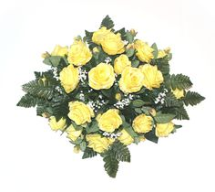 GSF's Premium Exclusive - Medium Rose Headstone Spray - Yellow Grave Flowers, Cemetery Flowers, Red Blush, Memorial Flowers, Visual Display, Silk Roses, Flower Arrangements, Bouquet, Yellow