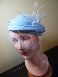 My new powder blue veiled hat with feathers, by Baubles & Whatnots, SOLD