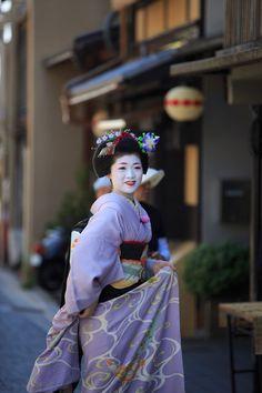 Maiko in Kyoto. Lovely lavender hikizuri (kimono) and September bellflower hair ornament (kanzashi)