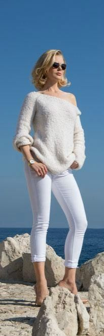 Love white capris and loose white sweater, off shoulder.