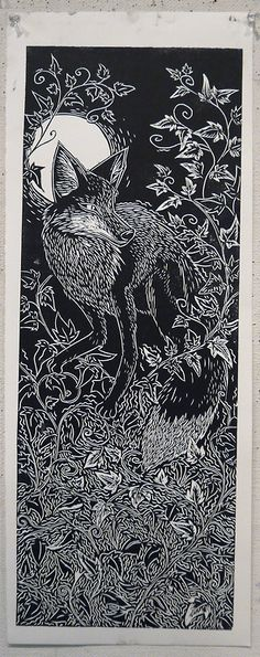 """""""Linocut of a Fox, that's right, this is mine, I made it myself with my hands."""" by Katie Powell. S"""