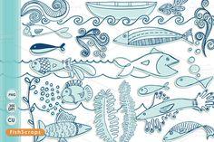 Blue Fish Clip Art - Doodles ~ Illustrations on Creative Market