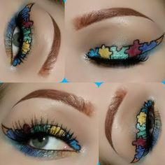This gorgeous eye makeup uses different shades of mineral eye shadow to create puzzle art in a winged eyeliner outline. See the eyeshadows that made this colorful look.