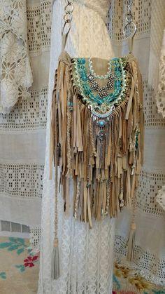 Handmade Tan Suede Fringe Shoulder Bag Vintage Rhinestones Hippie Purse tmyers…