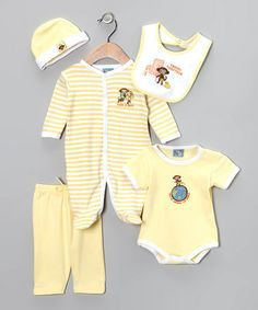 Take a look at this Yellow 'Travel Together' 5-Piece Layette Set by Sweet & Soft on #zulily today!