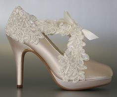 3066a48d8eb5 Look fancy with an elegant lace overlay to sash on your custom wedding shoes!  (