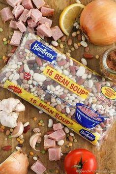 16 Bean Soup, Soup Beans, Ham And Bean Soup, Beans Beans, Pinto Beans, Slow Cooker Turkey Soup, Crock Pot Slow Cooker, Slow Cooker Bean Soup, Bean Soup Recipes