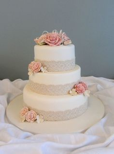 elegant wedding cake with with blue flowers - Google Search