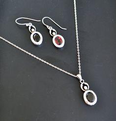 Garnet Jewelry Set Sterling Silver Jewelry Set by LKArtChic