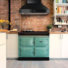 How beautiful is this AGA eR3 Series 100 in Pistachio? 😍  This cheerful shade is quickly becoming one of the most popular AGA colours and we can see why. Aga Range, Cookware Storage, Kitchen Design, Kitchen Decor, Aga Range Cooker, Cast Iron Oven, Storage Spaces, Range Cooker, Hobs