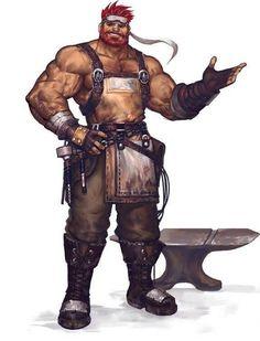Gavin, the blacksmith of Ullara village, npc, rpg, dnd, d&d