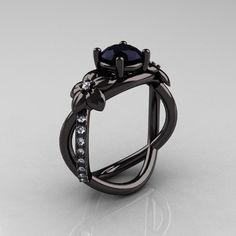Designer Classic 10K Black Gold 1.0 CT Black Diamond  Leaf and Vine Wedding Ring, Engagement Ring R180-10KBGDBD. $1,699.00, via Etsy.